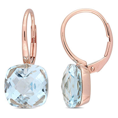 Blue Topaz Dangle Leverback Earrings In 14k Rose Gold