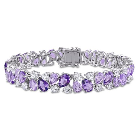 29.88 CT. Amethyst, Rose de France and Created White Sapphire Multi-Color Gemstone Bracelet in Sterling Silver