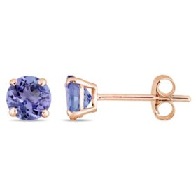 1.08 CT. Tanzanite Solitaire Stud Earrings in 14K Rose Gold