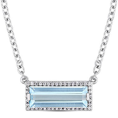 3.06 CT. Blue Topaz and White Sapphire Bar Necklace in Sterling Silver
