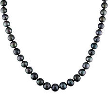 8-10 mm Black Tahitian Pearl Strand Necklace in 14K White Gold