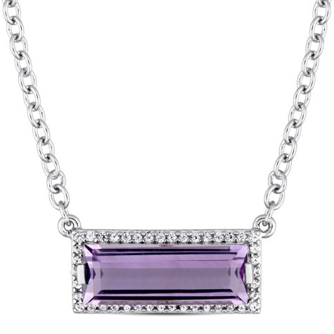 2.36 CT. Amethyst and White Sapphire Bar Necklace in Sterling Silver