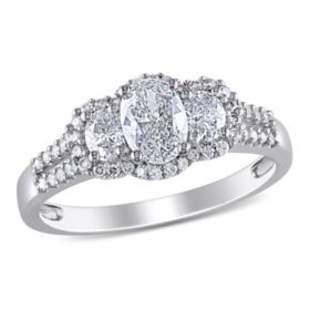 Allura 1 CT. T.W. Oval and Round-Cut Diamond Three Stone Halo Engagement Ring in 14K White Gold