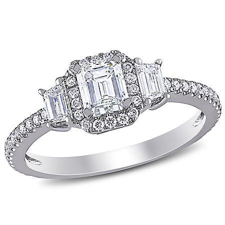 Allura 1 CT. T.W Emerald-Cut Diamond Three Stone Halo Engagement Ring in 14K White Gold
