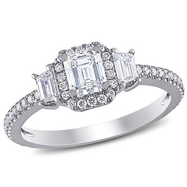 Allura 1 CT. T.W Emerald-Cut Diamond Three Stone Halo Engagement Ring in 14K White Gold