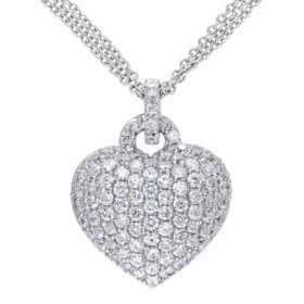 3.47 CT. Created White Sapphire Heart Pendant in Sterling Silver