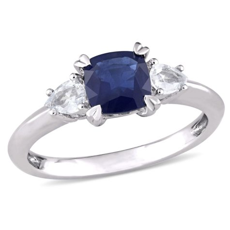 1.67 CT. Cushion Cut Blue and White Sapphire Three Stone Engagement Ring in 14K White Gold