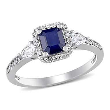 1.26 CT. Blue and White Sapphire with Diamond-Accent Three Stone Halo Engagement Ring in 14K White Gold