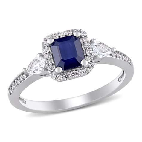 1.26 CT. Blue and White Sapphire with Diamond-Accent Ring in 14K White Gold