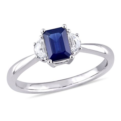 1.03 CT. Octagon-Cut Blue and White Sapphire Three Stone Engagement Ring in 14K White Gold