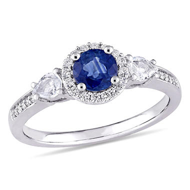 1 CT. Blue and White Sapphire with Diamond Accent Three Stone Halo Engagement Ring in 14K White Gold