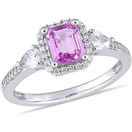 0.9 CT. Octagon Cut Pink and White Sapphire with Diamond Accent Three Stone Halo Engagement Ring in 14K White Gold