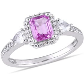 1.21 CT. Octagon Cut Pink and White Sapphire with Diamond Accent Three Stone Halo Engagement Ring in 14K White Gold