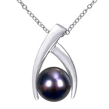 9.5-10 mm Black Round Tahitian Pearl Drop Pendant in Sterling Silver