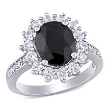 5.02 CT. T.W. Oval Cut Black Sapphire and Created White Sapphire Halo Ring in Sterling Silver
