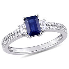 1.01 CT. Octagon Cut Blue and White Sapphire with Diamond Accent Three Stone Engagement Ring in 14K White Gold