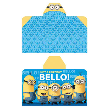 Minions 'Friendly Wave' Reversible Hooded Towel Wrap, 28
