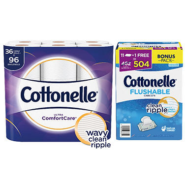 Cottonelle Ultra Comfort Care Giant Roll with Kleenex Cottonelle FreshCare Flushable Cleansing Cloth Bundle