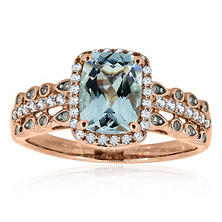 Aquamarine and Diamond Ring in 14K Rose Gold