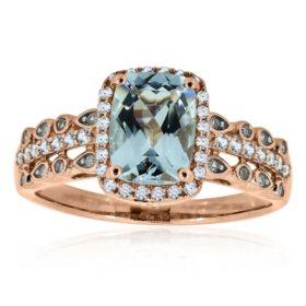 Aquamarine and Diamond Ring in 14K Rose Gold