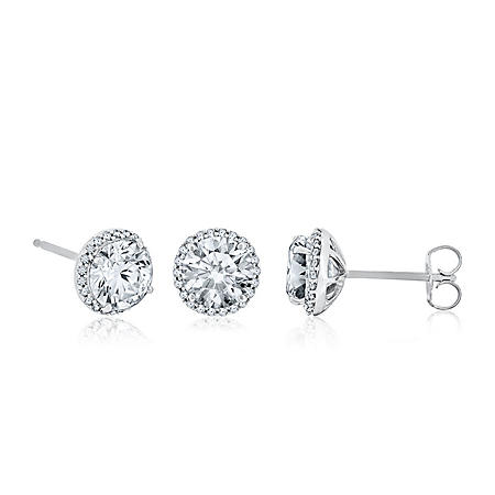 Created White Sapphire and Diamond Earrings in 14K White Gold