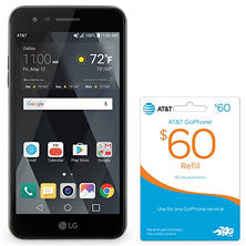 LG Phoenix 3 GoPhone by AT&T with $60 AT&T Mobility Card