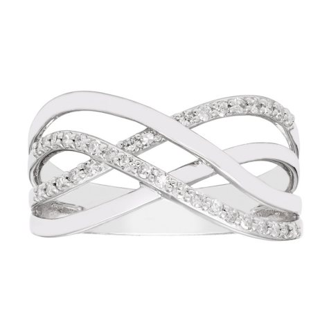 0.20 CT. T.W. Sterling Silver Diamond Overlap Band