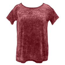 Green Tea Women's Short Sleeve Crushed Velvet Top
