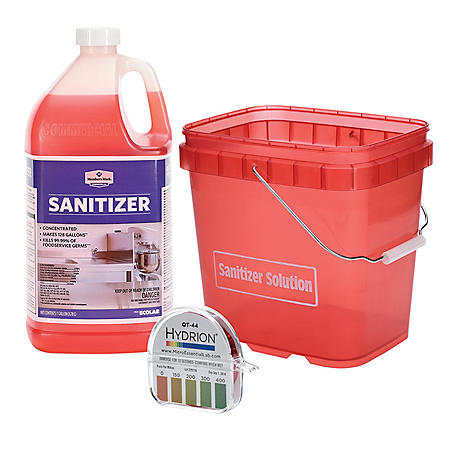 Sanitizer Bundle (Sanitizer, Test Strips & Pail)