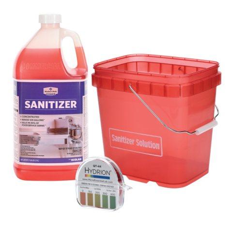 Sanitizer Bundle (Sanitizer, Test Strips & Pail)