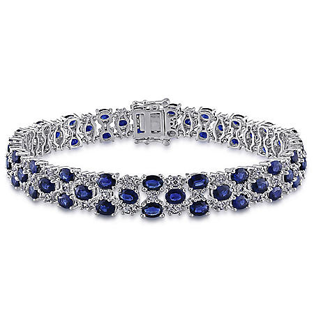 Allura 15.75 CT. Blue and White Sapphire Link Bracelet in 14K White Gold