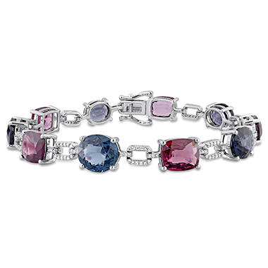 26 CT. Multi-Color Spinel and 0.53 CT. Diamond Bracelet in 14K White Gold