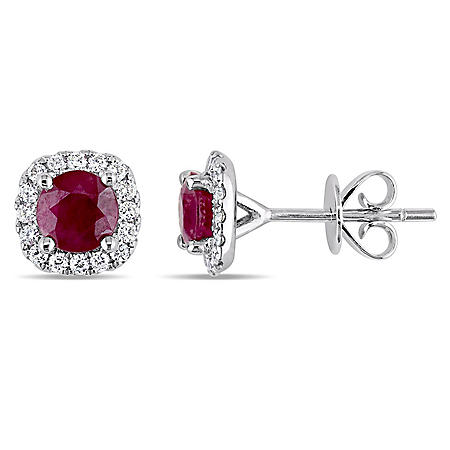 1.2 CT. Ruby and 0.25 CT. Diamond Halo Stud Earrings in 14K White Gold