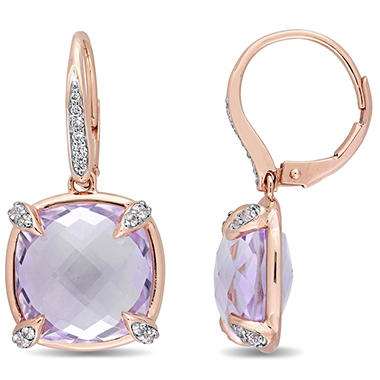 15.7 CT. Rose de France and White Sapphire with Diamond-Accent Dangle Earrings in 14K Rose Gold