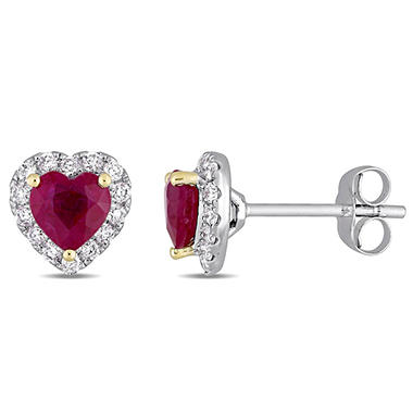 1.12 CT. Ruby and 0.28 CT. Diamond Halo Heart Stud Earrings in 14K White Gold