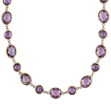 55.54 CT. Rose de France and Amethyst Station Necklace in 14K Rose Gold