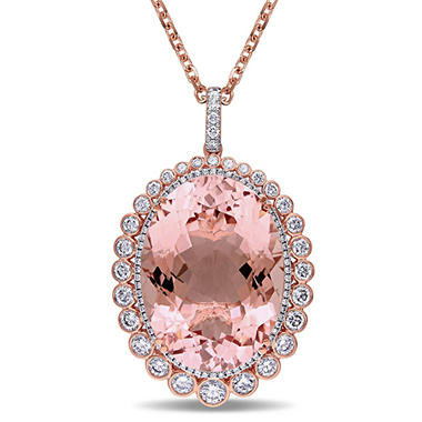 43.65 CT. Morganite with 2.85 CT. Diamond Halo Pendant in 14K Rose Gold