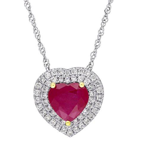 Allura 1.43 CT. Ruby and 0.25 CT. Diamond Double Halo Heart Pendant in 14K White Gold