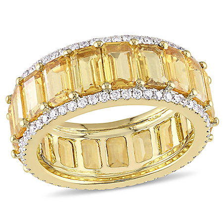 Allura 10.50 CT. T.W. Octagon-Cut Yellow Sapphire and 0.64 CT. T.W. Diamond Eternity Ring in 14K Yellow Gold
