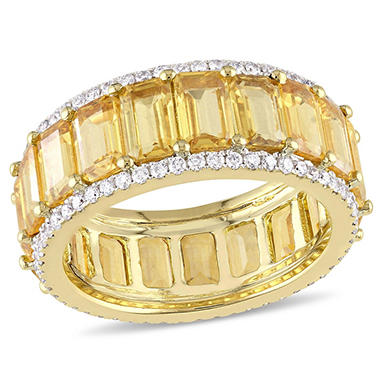 10.50 CT. Octagon-Cut Yellow Sapphire and 0.64 CT. Diamond Eternity Ring in 14K Yellow Gold