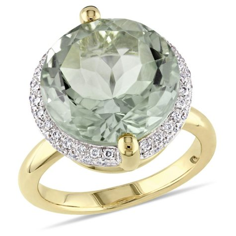 Allura 9.6 CT. Green Amethyst and 0.27 CT. Diamond Halo Cocktail Ring in 14K Yellow Gold