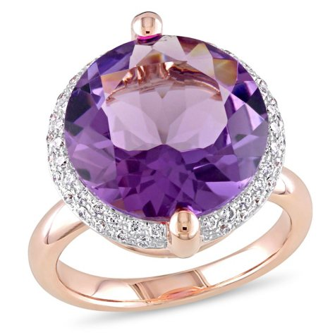 Allura 9 CT. Amethyst and 0.27 CT. Diamonds Halo Cocktail Ring in 14K Rose Gold