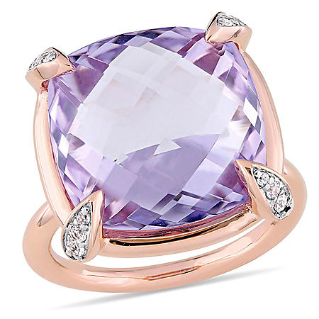 15.13 CT. Rose de France and White Sapphire Cocktail Ring in 14K Rose Gold