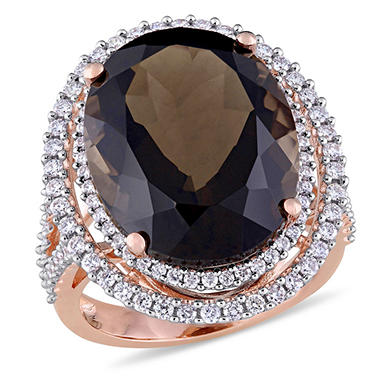 20 CT. Oval-Cut Smokey Quartz and 0.93 CT. Diamonds Double Halo Ring in 14K Rose Gold