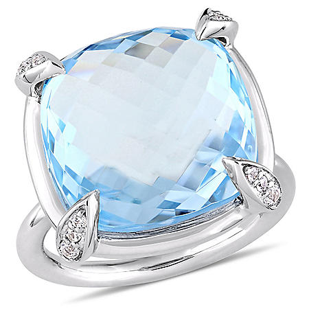 18.13 CT. Cushion-Cut Topaz and White Sapphire Cocktail Ring in 14K White Gold