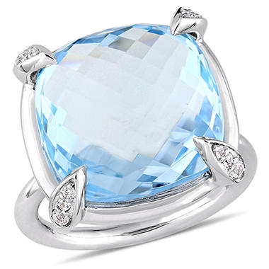 18.13 CTTW GEM RING TOPAZ 14K WG