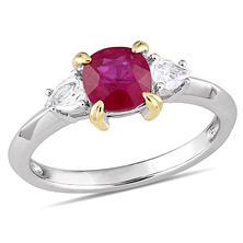1.36 CT. Ruby and White Sapphire Three Stone Ring in 14K White Gold