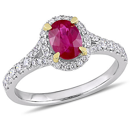 Allura 0.94 CT. Oval-Cut Ruby and 0.46 CT. Diamond Halo Ring in 14K White Gold