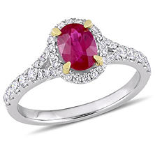 0.94 CT. Oval-Cut Ruby and 0.46 CT. Diamond Halo Ring in 14K White Gold