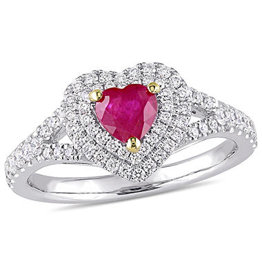 1 CTTW GEM RING RUBY 14K WG